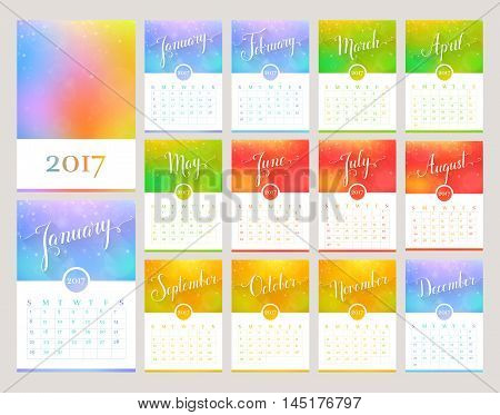 Сalendar for the Year 2017. Vector template with abstract blurred background and lettering. Handwritten month names. Set of 12 monthly cards and cover for print or web.