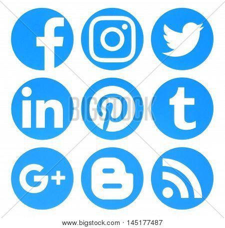 Kiev Ukraine - August 22 2016: Collection of popular circle blue social media logos printed on paper:Facebook Twitter Google Plus Instagram Pinterest LinkedIn Blogger Tumblr and RSS