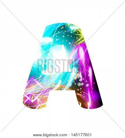 Glowing Light effect neon Font. Firework Color Design Text Symbols. Shiny letter A