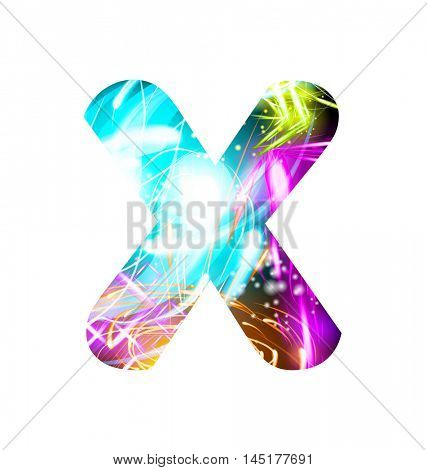 Glowing Light effect neon Font. Firework Color Design Text Symbols. Shiny letter X