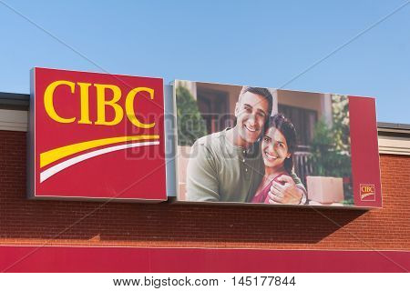 DARTMOUTH CANADA - AUGUST 31 2016: The Canadian Imperial Bank of Commerce or CIBC is Canada's fifth largest chartered bank as measured by deposits.