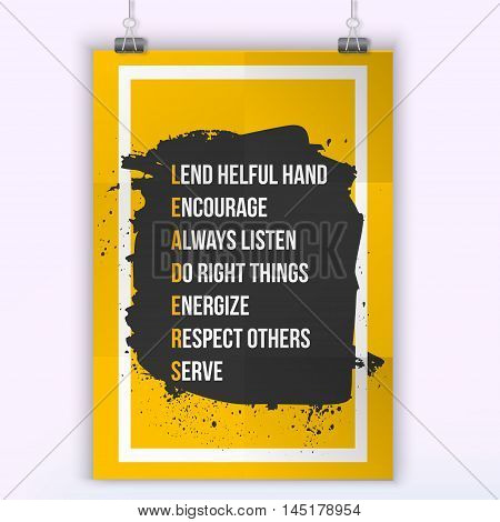 Leader Inspirational motivational quote. Vector simple design. Black stain.