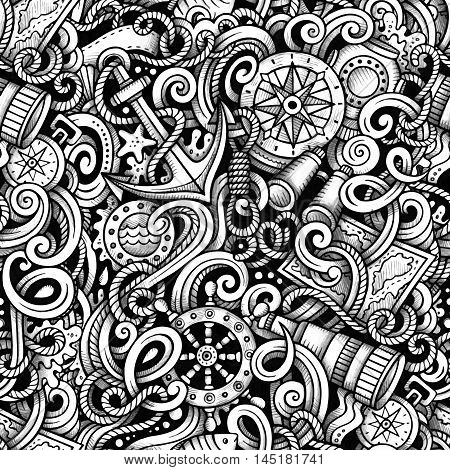 Cartoon hand-drawn doodles Nautical and Marine seamless pattern. Line art trace detailed, with lots of objects vector background