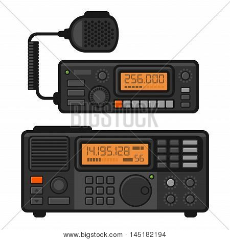 Police Car Radio Transceiver Set. Vector illustration