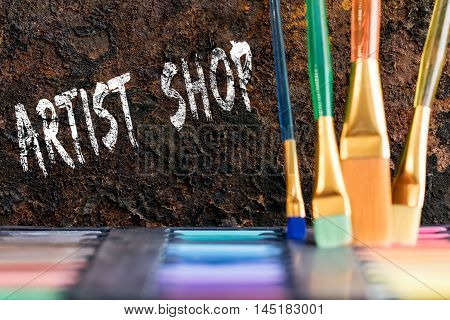 Color Box And Brushes, Words Artist Shop