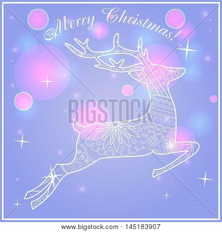 Vector merry Christmas card on bokeh background