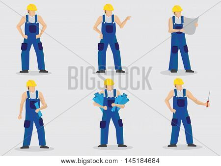 Set of six vector illustrations of construction worker wearing blue overall work clothes and yellow helmet in various gestures and poses isolated on plain background.