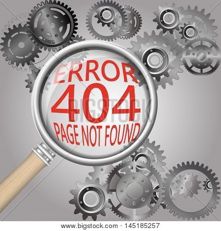 Page not found. 404 error background with magnifying glass. Stock vector.