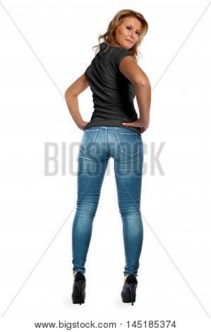 Rear view portrait of a blonde young woman looking back. Isolated on a white background.