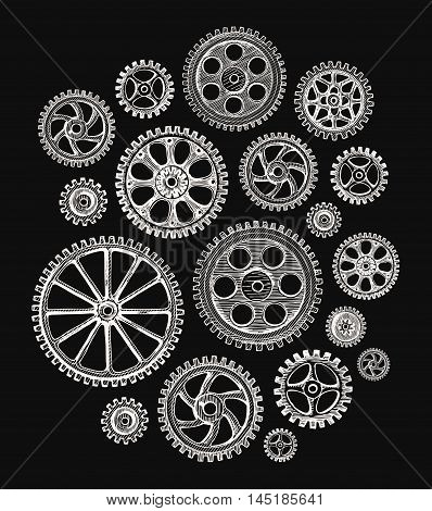 hand drawn cogwheels and gears. Vector illustration