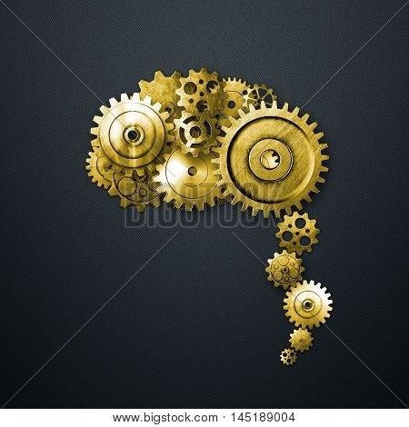 gold metal gear on metal gray carbon background look like a human brain. material design. 3d illustration.