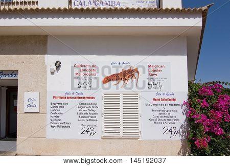 Cala Gamba Marina Seafood Restaurant Menu