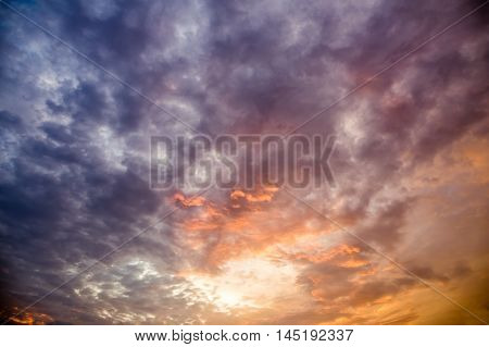 Dramatic Sky With Clouds At Sunset Or Sunrise Background, Hdr