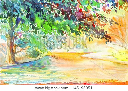 Watercolor original painting Landscape painting Watercolor background Flowers painting colorful illustration designmountain forestmountain range