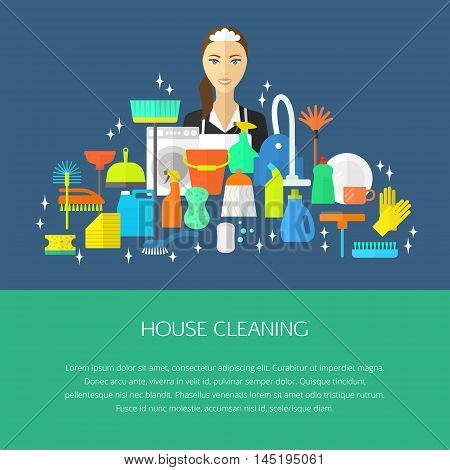 Vector trendy flat cleaning icon set, template, concept. Vacuum cleaner, protective gloves, plunger, spray bottle,  wipe, squeegee, sponge, bucket, mop, brush, duster and many more. poster