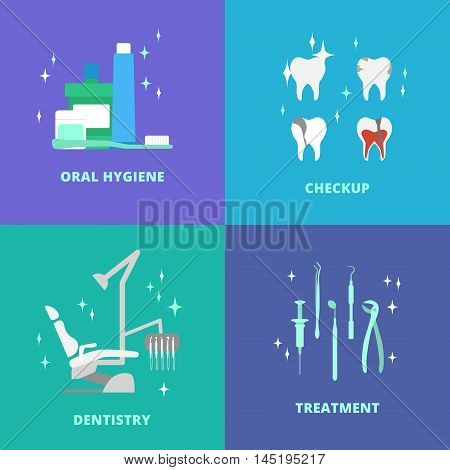 Vector dental care elements, icons. Dental chair, mouthwash, toothpaste, floss, dentist tools, dentist smile.