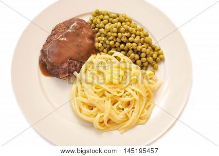 Salisbury Steak Served with Peas and Linguini Pasta