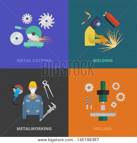 Vector metalworking icons, concept. Metal cutting, welding, lathe work.