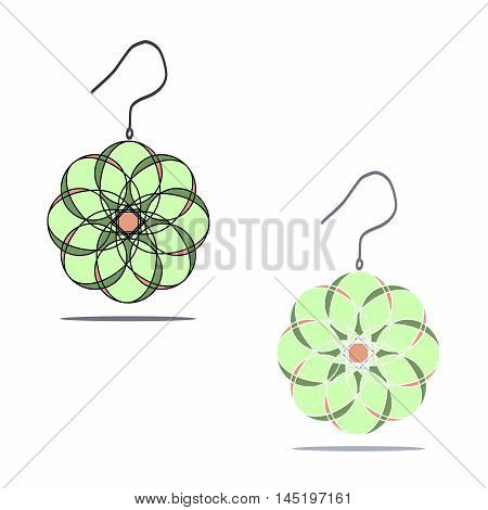 Vector illustration of logo for women's earrings.Isolated the drawing, consists of a gemstone,jewelry,carat,closeup on white background.The icon for fashion,beauty,gift,style,glamour,luxury,girl,joy.