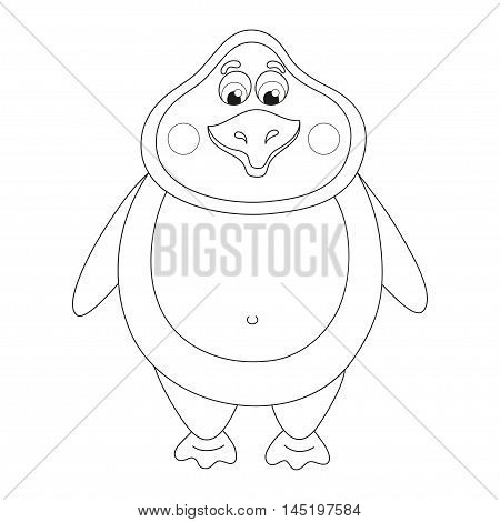 Cheerful cute penguin, fat birdie standing, funny character, coloring book page for children, vector illustration