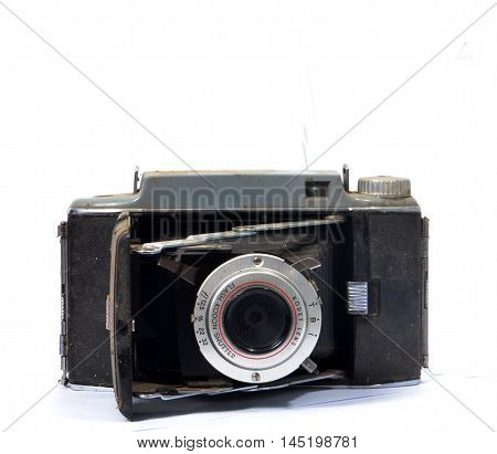 RESEN MACEDONIA- JANUARY 52014: Kodak tourist camera is American made folding roll film cameras from Eastman Kodak. The Tourist II introduced in May of 1951.