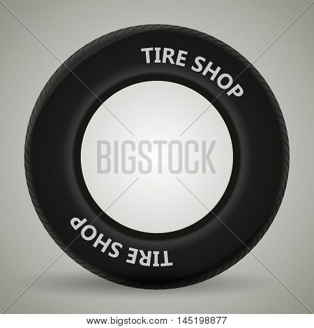 car tire on a gray background with shadow. vector illustration.