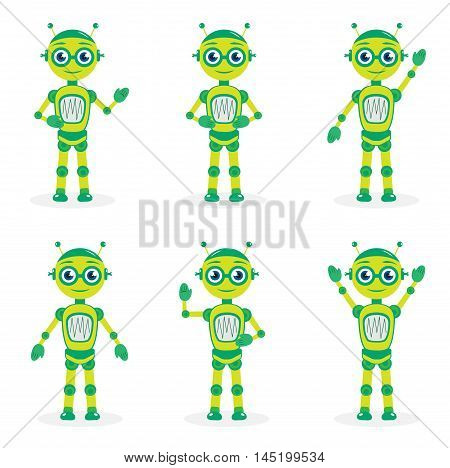 Cartoon mascot robot robot character. Robot in different poses. Robot mascot logo. Vector illustration