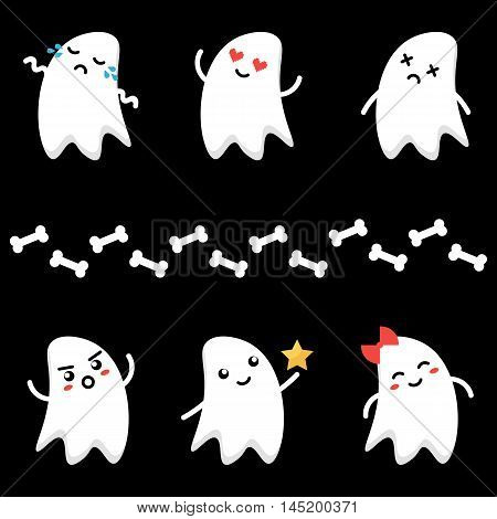 Cute little cartoon ghosts characters with different facial expressions. Emoji set, collection on dark background.
