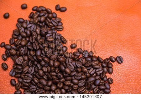 Closeup Of Coffee Beans On Leather