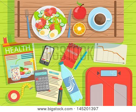 Diet And Weight Loss Elements Set View From Above. Colorful Illustration In Simple Style In Cartoon Flat Vector Design