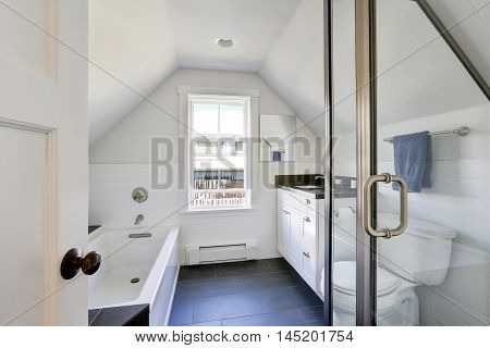 Modern White Bathroom Interior In The Attic.