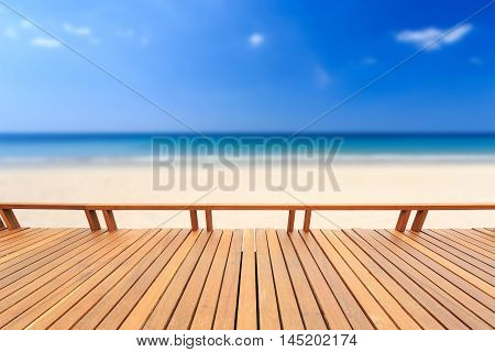 Wooden Decking Or Flooring And Tropical Beach