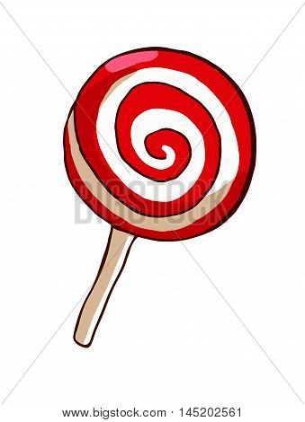 Red lollipop isolated over white. Vector illustration.