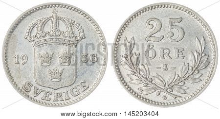 25 Ore 1936 Coin Isolated On White Background, Sweden
