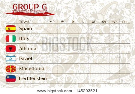 Football world championship 2018 European qualifiers matches group G table of results vector template