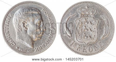 Silver 1 krone 1915 coin isolated on white background Denmark poster