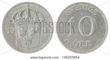 10 Ore 1913 Coin Isolated On White Background, Sweden