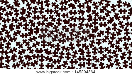 Random dark jigsaw pieces over a light background