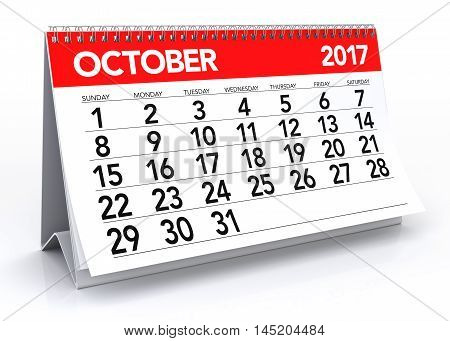 October 2017 Calendar. Isolated On White Background. 3D Illustration