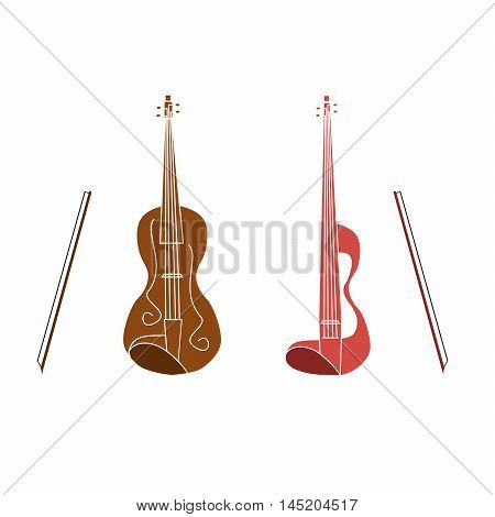 Vector illustration of logo for stringed musical instrument violin.Isolated drawing of a wooden soundboard strings for sound makes the music.The icon for musicians bands.The symbol the Slavic people.