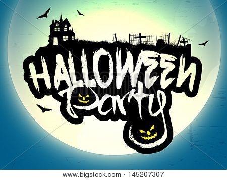 Halloween Party lettering design with pumpkin faces, Spooky background with full moon and silhouette of castle in graveyard.