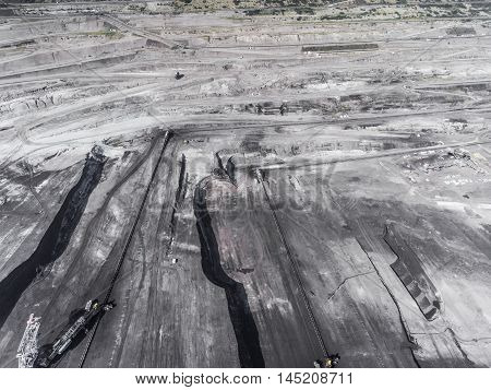 Surface Coal Mining In Poland. Destroyed Land. View From Above. Surrealistic Landscape.