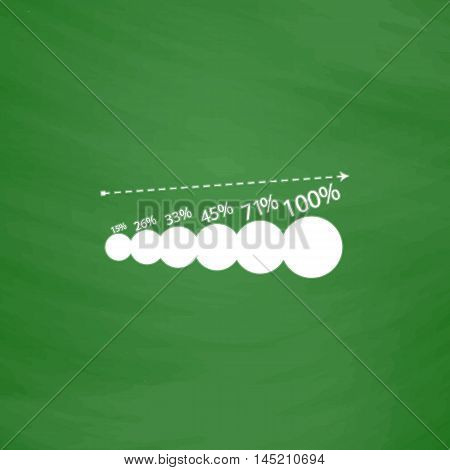 Graphics growth. Flat Icon. Imitation draw with white chalk on green chalkboard. Flat Pictogram and School board background. Vector illustration symbol
