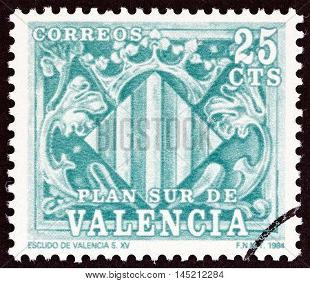 VALENCIA - CIRCA 1984: A stamp printed in Spain shows Shield of Valencia 15th century, circa 1984.
