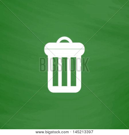 Urn. Flat Icon. Imitation draw with white chalk on green chalkboard. Flat Pictogram and School board background. Vector illustration symbol