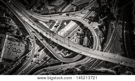 Aerial view of highway interchange of a city. South Bridge. Top view, from above. Outdoor.