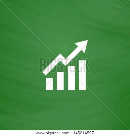 Growing bars graphic with rising arrow. Flat Icon. Imitation draw with white chalk on green chalkboard. Flat Pictogram and School board background. Vector illustration symbol