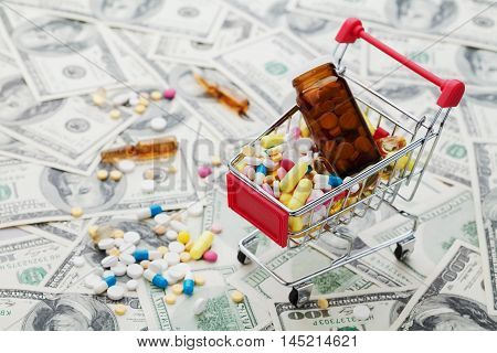Shopping cart full of drug and medicine pills on dollar money background. Pharmaceutical industry cost concept.