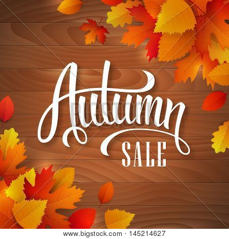 Vector autumn sale banner with hand drawn lettering and colorful leaves on a wooden background.