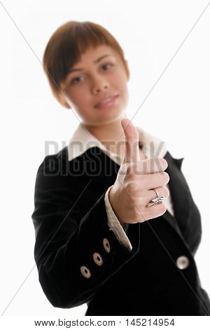 Businesswoman With Thumbs Up